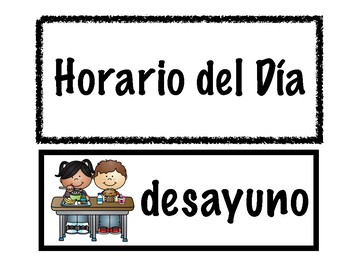 Cartas de Horario del Dia/Spanish Schedule Cards