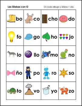 Cartas de las Silabas - Syllable Cards in Spanish