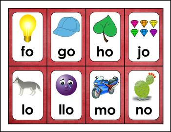Cartas de las Silabas - Syllable Cards in Spanish