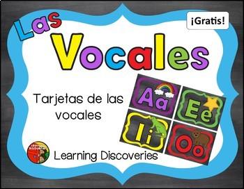 Cartas de las Vocales de color GRATIS! - Colorful Spanish Vowel Cards FREEBIE!