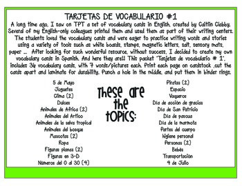 Cartas de vocabulario en español (Vocabulary Cards in Spanish)