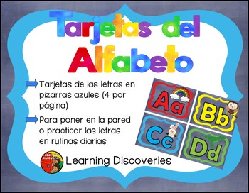 Spanish Alphabet Cards with colorful frames on blue background