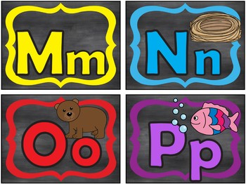 Tarjetas del Alfabeto de Color con Negro - Colorful Black Spanish Alphabet Cards