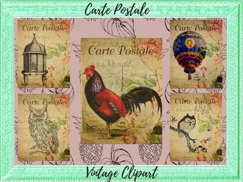 Carte Postale Vintage Clipart - 4 .JPG Images