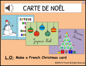 Carte de Noel (French Christmas cards)- 1 lesson! Y3 ->Y6 (2nd -> 5th Grade)