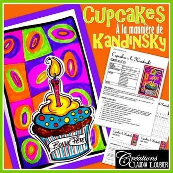 Cupcakes , Carte de fête,  projet d'arts plastiques, à la manière de Kandinsky