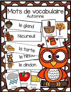 Cartes avec mots de vocabulaire - l'automne