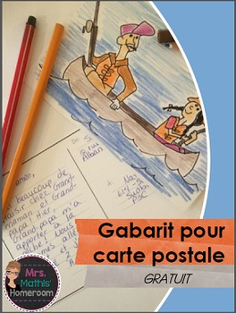 Carte postale, gabarit - Template for Post Card in French