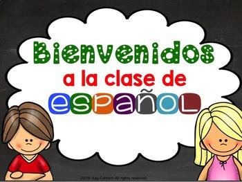 Cartel Bienvenidos a la clase de español gratis FREE