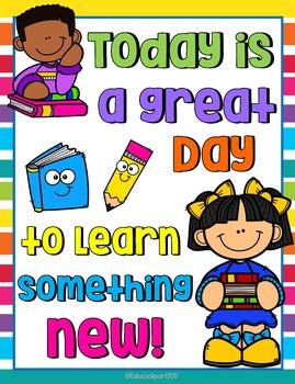 """Cartel """"Hoy es un día perfecto para aprender"""" Bilingual"""