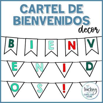 Cartel de Bienvenidos VERDE AZULADO - Teal Welcome Banner Spanish
