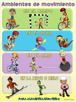 Cartel de la educación física: Alfabetizacion Fisica- Ambientes de movimiento