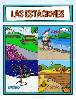 Cartel de las estaciones - Seasons (English and Spanish included)