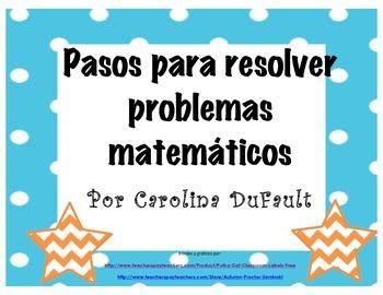 Carteles con pasos para resolver problemas de matemáticas