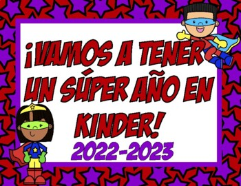 Carteles de Primer Dia de Escuela superhéroe (Spanish First Day of School Signs)