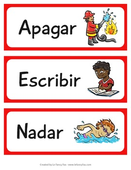 Carteles de Sustantivo y Verbo - En español - Illustrated Posters