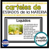 Carteles de ciencias en ingles y espanol: Estados de la materia