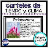 Carteles de ciencias en ingles y espanol: Tiempo y Clima