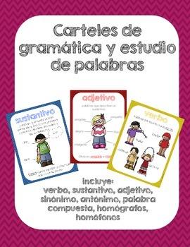 Carteles de gramática y estudio de palabras