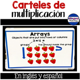 Carteles de multiplicación en ingles y espanol (multiplica