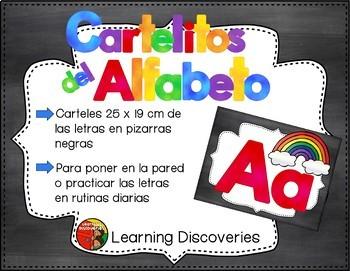 Carteles del Alfabeto Pizarras Negras Spanish Alphabet Posters Black Chalkboards