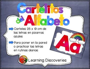 Carteles del Alfabeto Pizarras Azules Spanish Alphabet Posters Blue Chalkboards