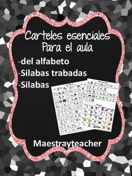 Carteles del alfabeto, silabas y silabas trabadas