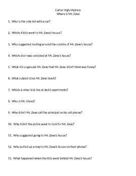 Carter High Mystery - Where is Mr. Zane