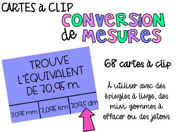 Cartes à clip - Conversion de mesures