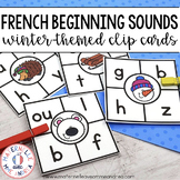 Cartes à clip le son initial Hiver (FRENCH Winter Beginning Sound Clip Cards)