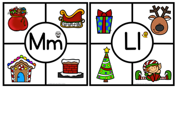 Cartes à clip le son initial Noël (FRENCH Christmas Beginning Sound Clip Cards)