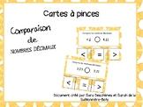 Cartes à pinces - Comparaison de nombres décimaux