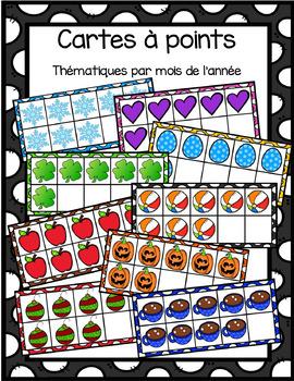 Cartes à points thématiques/ Theme ten frames by month