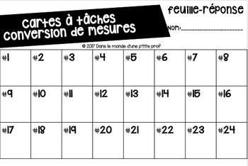 Cartes à tâche Conversion de mesures // Measurement task cards FRENCH