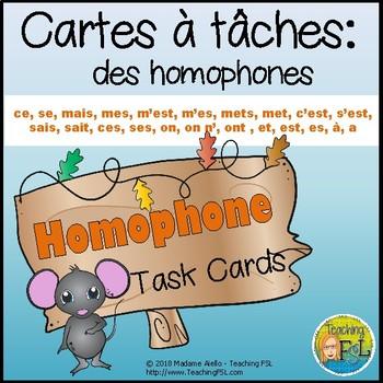 Cartes à tâches - Homophones - Task Cards