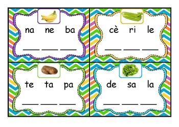 Cartes à tâche: Replacer les 3 syllabes