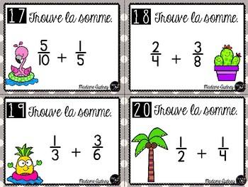 Cartes à tâche - additions de fractions