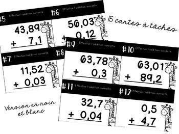 Cartes à tâches - 2e cycle - Additions de nombres décimaux