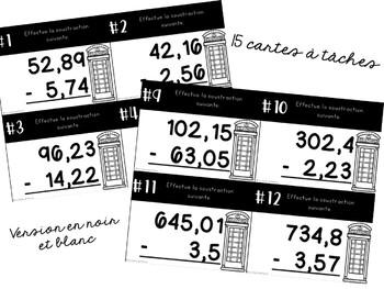 Cartes à tâches - 2e cycle - Soustractions de nombres décimaux Niveau A