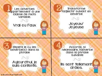 Cartes à tâches - 3e cycle - Adverbes