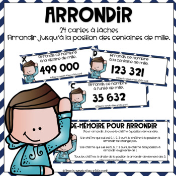 Cartes à tâches Arrondir 5e année // French Task Cards Rounding