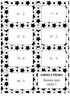 Cartes à tâches - Division avec reste - 1