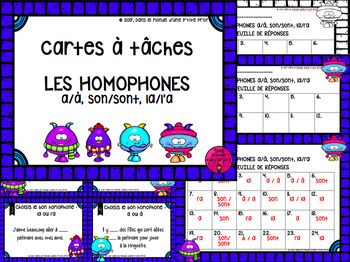 Cartes à tâches : Homophones // Homophones Task Cards (FRENCH)