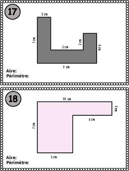 Cartes à tâches - Aire et périmètre (EN FR)
