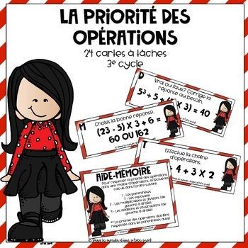 Cartes à tâches : La priorité des opérations // French task cards