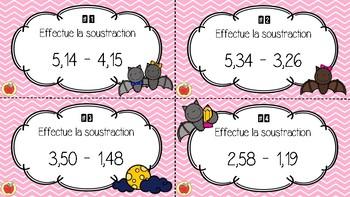 Cartes à tâches - La soustraction de nombres décimaux 1