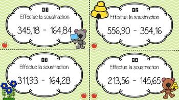 Cartes à tâches - La soustraction de nombres décimaux 3