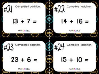 Cartes à tâches - Les additions 0 à 30 (Mathématique)