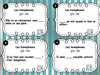 Cartes à tâches - Les homophones ça - sa (French task cards)
