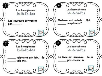 Cartes à tâches - Les homophones la-là-l'a-l'as  (French task cards)